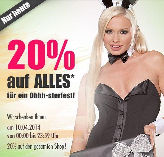 Orion Shop NUR HEUTE - 20% auf ALLES! + 15€ Gutschein [Sextoys, Dessous, Kondome usw.]