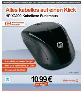 "HP™ - Wireless Maus ""X3000"" ab €10,81 [@Digitalo.de]"