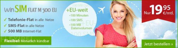 Allnet-Flat mit SMS-Flat & 500 MB plus 100 Min/ 100 SMS & 100 MB/ Monat für Roaming/ EU für unter 20 €/ Monat