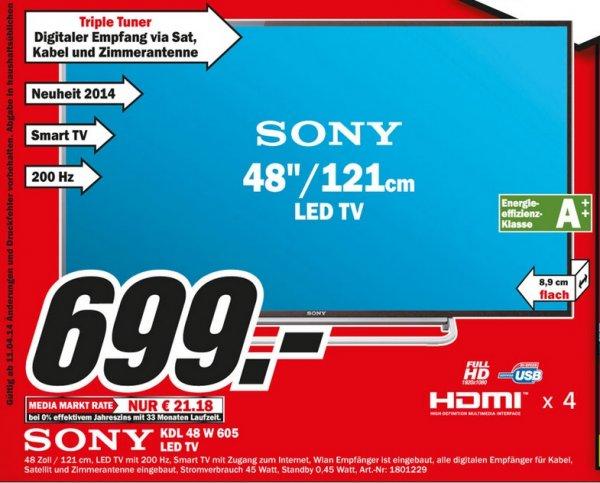 Sony KDL-48W605 für 699€ Lokal [Mediamarkt Aachen Herzogenrath Eschweiler Hückelhoven]