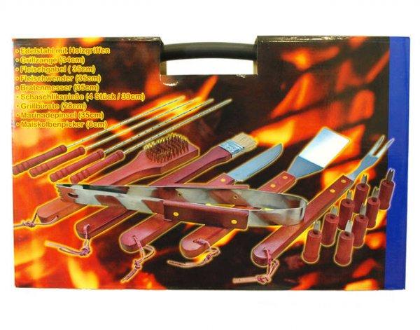 18-teiliges XXL Grillbesteck aus Edelstahl (Holzgriffe,inkl.Koffer) für €9,29 [@MeinPaket.de]