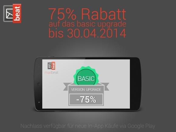 75% Rabatt auf das Basic Upgrade für mailbe.at (Android Email Client)