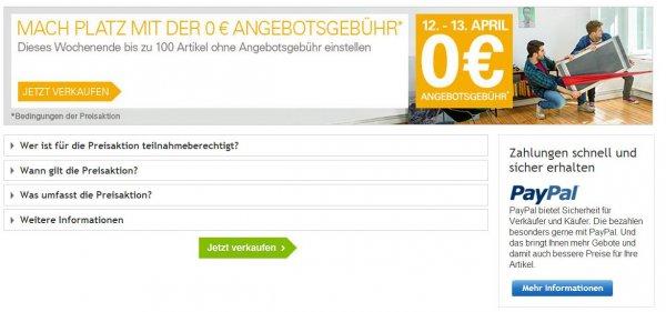 Sonderaktion für Eingeladene: 2 Tage keine Angebotsgebühr auf ebay.de vom 12.04.2014 - 13.04.2014 - Sofortkauf kostenlos