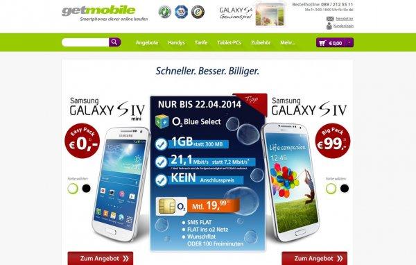 Samsung Galaxy S4 (mini) mit 1GB Internet, o2-, SMS- und Wunschflat im o2-Netz rechnerisch ab 10,78€/Monat