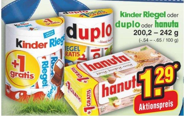 Netto ohne Hund (Bundesweit) Kinder Riegel, Duplo , Hanuta 10+1 Riegel
