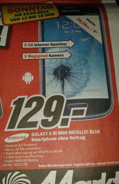 !Nur heute im Media Markt Braunschweig!-Samsung Galaxy S3 Mini Metallic Blue für 129 €