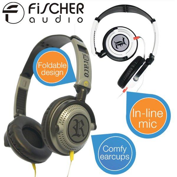 2 x Fischer Headset Draco Grau + Weiß (faltbar) In-line Mikro + Fernbedienung für 22,90€ @ iBood.de