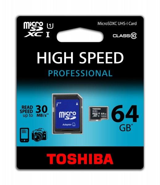 Toshiba Micro SDXC Class 10 UHS-I Speicherkarte 64GB Für 26 €