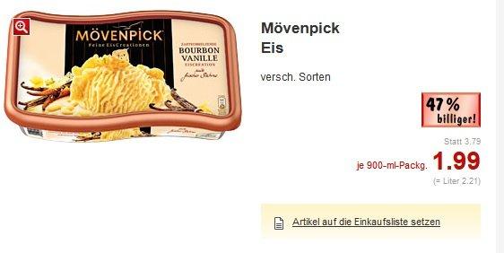 [Kaufland +Real bundesweit] Mövenpick Eis, verschiedene Sorten 900ml Packung für 1,99€ mit Coupies Gutschein morgen für 1,59€!