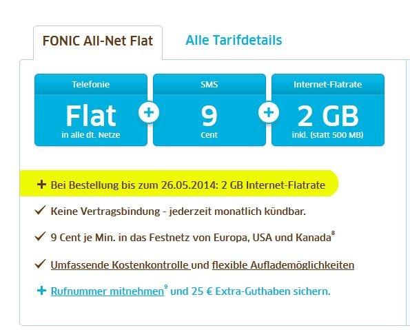 FONIC Allnet-Flat mit 2 GB Internet-Flat (19,95€) PREPAID