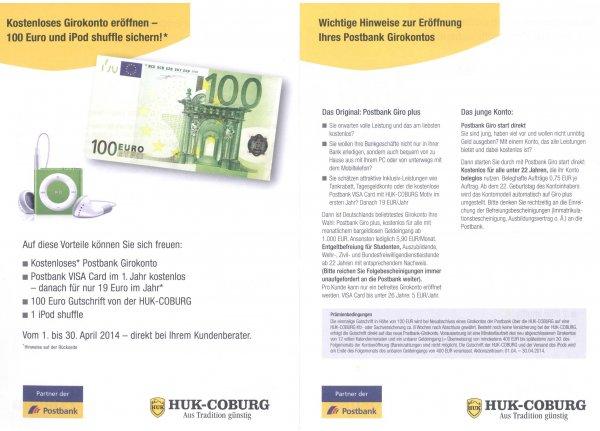 Postbankgirokonto über die HUK Coburg (nicht online) abschließen - 100 € + iPod shuffle 2gb