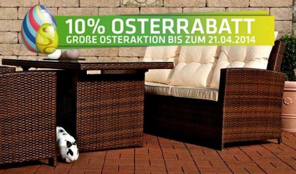 10% Osterrabatt auf alles beim Onlineshop Polyrattan24.de + GRATIS Kissenset in Wert von 99 € geschenkt