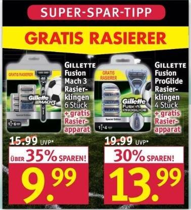 Rossmann Gillette Rasierklingen + Rasierapparat - Mach 3 / Fusion ProGlide (Special Edition)