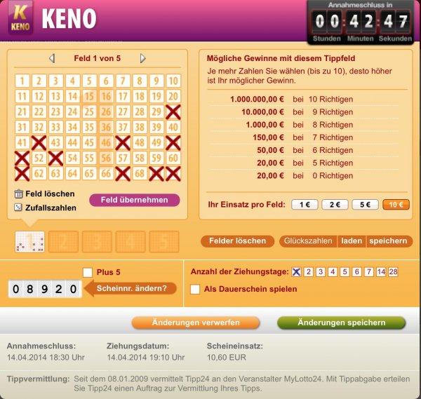 """TIPP24.com: KENO spielen und mit viel Pech """"gewinnen""""!"""