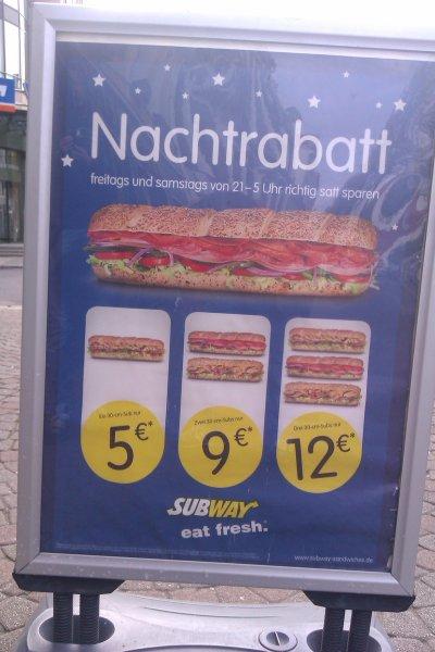 [LOKAL] Subway Magdeburg Nachtrabatt 1 Footlong 5€, 2 Footlong 9€, 3 Footlong 12€