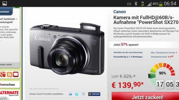 Canon Powershot SX 270 für nur 139,90 € + 5,95 € Versand