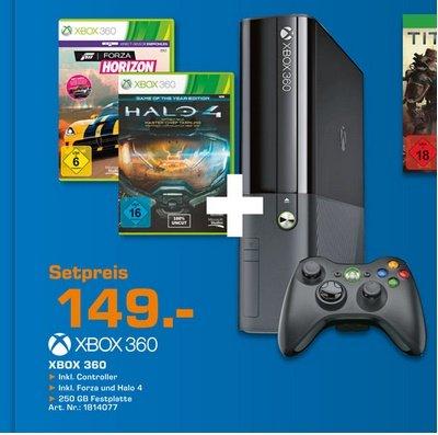[LOKAL] Xbox 360E Slim 250GB + Forza Horizon + Halo 4 bei Saturn Lübeck Dänischburg für 149€