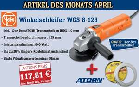 Winkelschleifer WGS 8-125 zum Aktionspreis von 117,81€ (+4,99€ Versand)