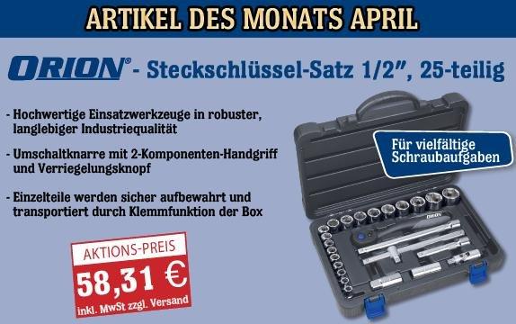 Steckschlüssel-Satz 1/2 Zoll, 25-teilig zum Aktionspreis von 58,31€ (+4,99€ Versand)