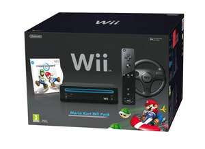 Nintendo Wii Mario Kart Wii Pack schwarz für 132€ @Amazon.it