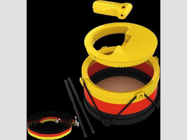 *Mediamarkt**Online/Offline* Deutschland Fußball WM-Fanset mit Samba-Trommel, Rassel, Ratsche und Trillerpfeife!