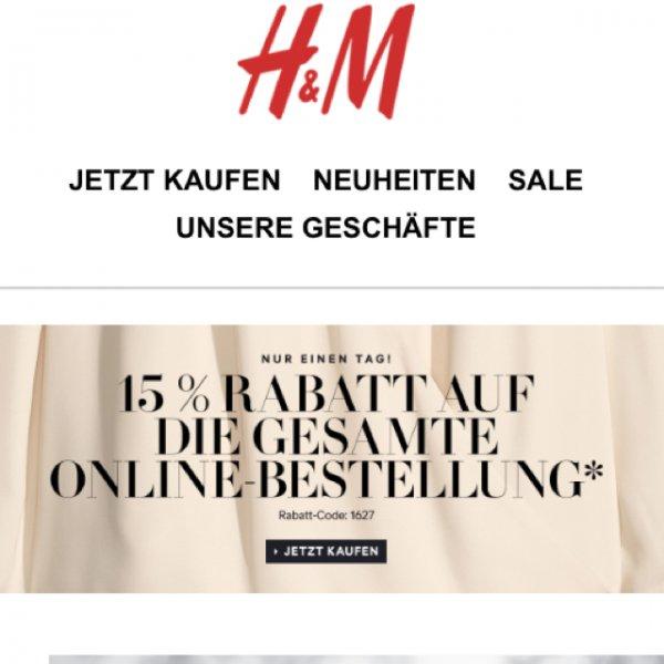 Nur heute: 15% auf die gesamte Online-Bestellung bei H&M