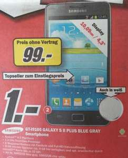 Samsung GT-I9105 GALAXY S II PLUS BLUE GRAY (auch weiß) im Media Markt Buchholz i.d. Nordheide