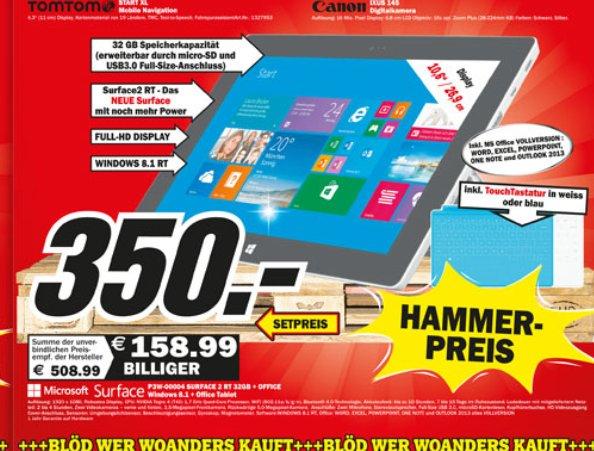 [Lokal] Mediamarkt Heppenheim: Microsoft Surface 2 RT 32GB mit Touch-Cover für 350€ und Sony KDL-55W905A für 1244€