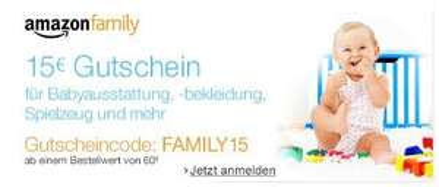 Amazon Family Anmeldung - 15 Euro Gutschein