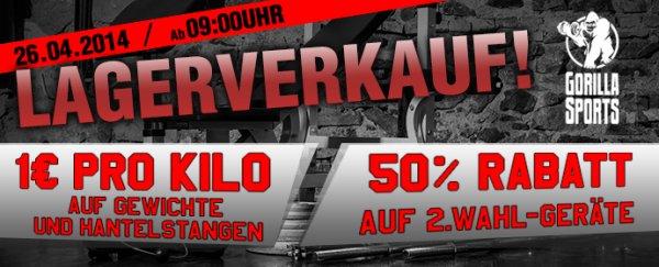 Gorilla Sports Lagerverkauf !!! 1€ pro Kg auf Gewichte und Hantelstangen, 50% auf 2.Wahl (LOKAL)