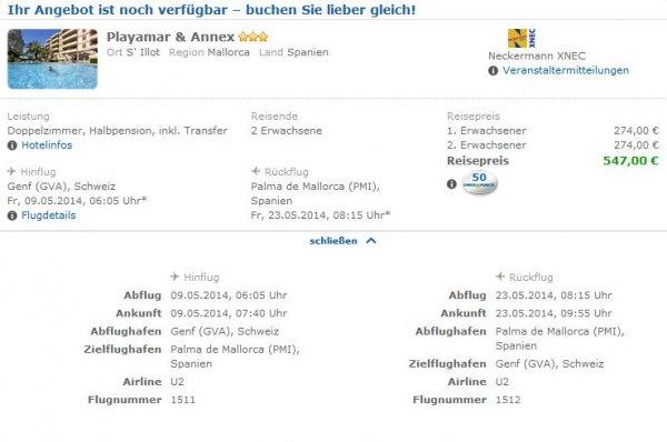 14 Tage Mallorca - 2 Personen - im Mai 2014 für 5,- ab Frankfurt inkl. Flug, Hotel, HP und Transfer @Check24.de
