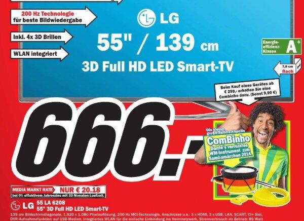 [Lokal Lingen] LG 55LA6208  55 Zoll Cinema 3D LED-Backlight-Fernseher, EEK A+  Full HD, 200Hz MCI, WLAN, DVB-T/C/S, Smart
