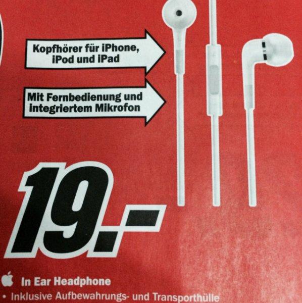 Apple In-Ear Kopfhörer für 19€ @ Media Markt
