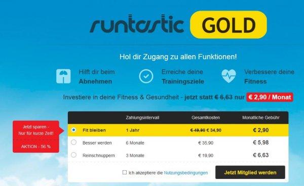Runtastic GOLD-Mitgliedschaft 56% günstiger für nur 34,90€