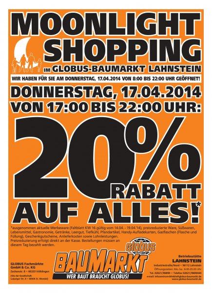 Globus Baumarkt Lahnstein - heute ab 17:00 Uhr 20% Rabatt auf alles!