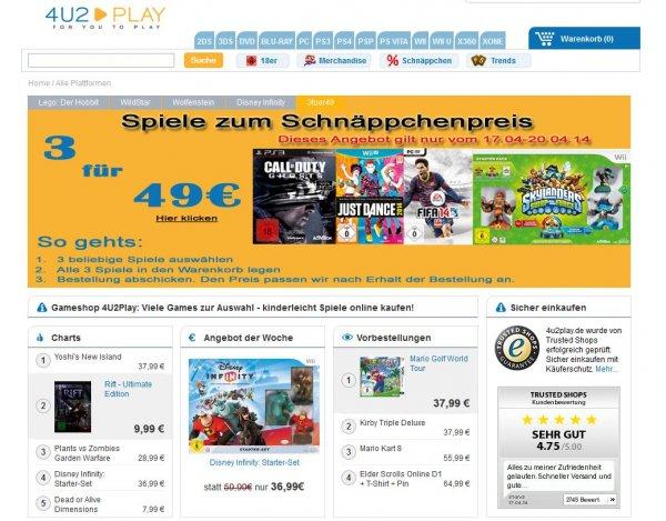 [4u2play.de] 3 Spiele für 49€ (u.a. Call of Duty: Ghosts, Battlefield 4, Skylanders Starter Pack, Fifa 14, Disney Infinity)