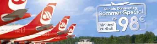 AirBerlin Hin u. Zurück für 98 € (D u. Europa) + weitere Ziele (ab 129 €)
