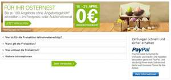 Sonderaktion für Eingeladene: 4 Tage keine Angebotsgebühr auf ebay.de vom 18.04.2014 - 21.04.2014 - Sofortkauf kostenlos