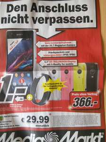 Sony Xperia Z1 Compact für 366€ bei Media Markt Karlsruhe