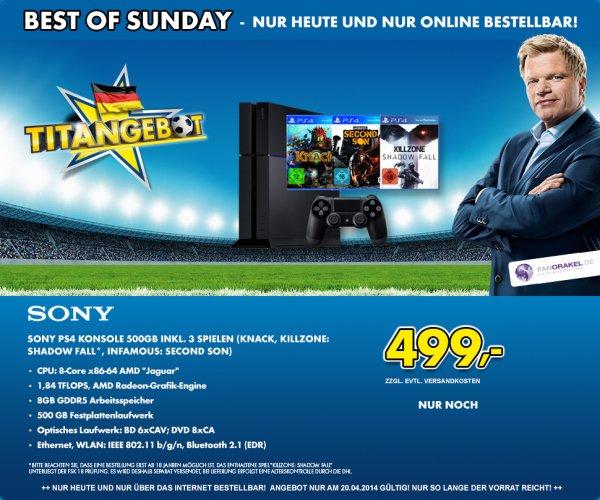 Sony Playstation 4 inkl. 3 Spiele €499 evtl. Versand €5,95 - Sonntagsdeal