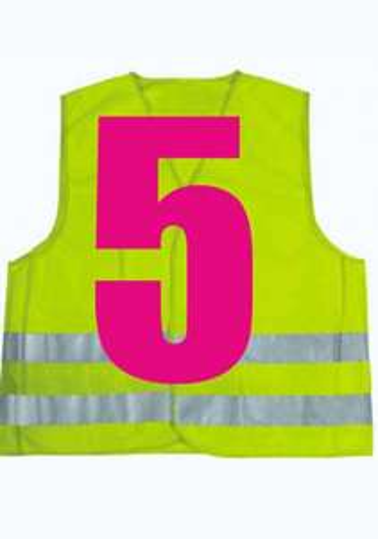 5 X Auto-Warnwesten in Neongelb nach DIN EN 471
