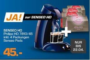 [SATURN online]  PHILIPS SENSEO® HD7810/45 purple PAD Maschine PLUS 4x 16 Pads für 44,96€