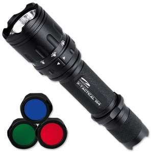 [Amazon Marketplace] Litexpress X-Tactical 104 schwarz, bis zu 190 Lumen mit 6 Modi, inklusiv 3 verschiedene Farblinsen und Multifunktionsschalter