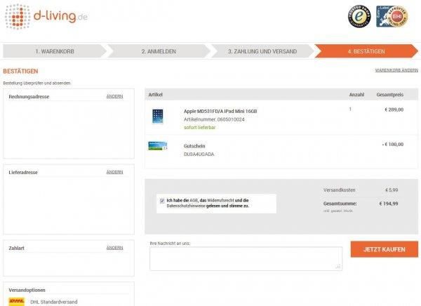 Apple MD531FD/A iPad Mini 16GB für € 194,99 bei d-living.de dank Gutscheincode