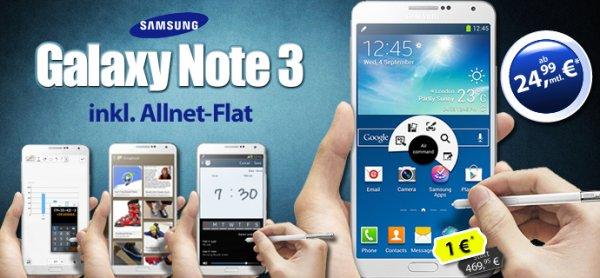 Samsung Galaxy Note 3 + Allnet + Internet Flat nur 24,99€ im Monat