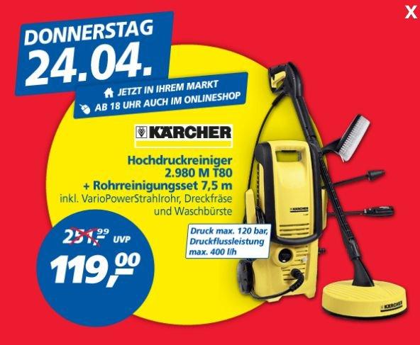 [REAL BUNDESWEIT] Kärcher Hochdruckreiniger 2.980 M + T80 Rohreinigunsset (PAYBACK-DEAL)
