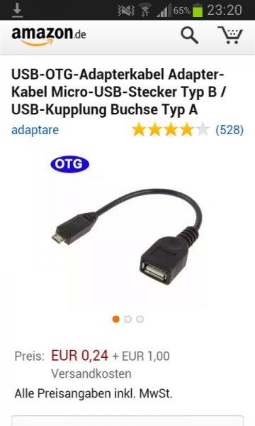 Adapter-Kabel Micro-USB-Stecker 1,24€ bei Amazon.de