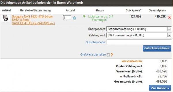 Innova24: Seagate NAS HDD ST4000VN000 für 124,88 EUR bei 0%-Finanzierung