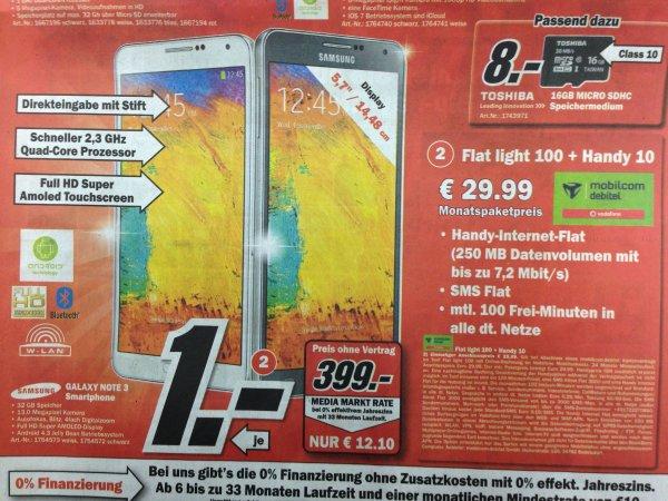 [LOKAL MM Weiterstadt] Samsung Galaxy NOTE 3 399€ oder Vodafone Debitel Vertrag 1€