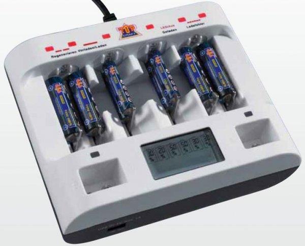 [ALDI Nord ab Do., 24.4.] TOP CRAFT Akku-Profi-Schnell-Ladegerät (AAA / AA / C / D / 9V / USB, prozessorgesteuert, einzeln, LED+LCD)